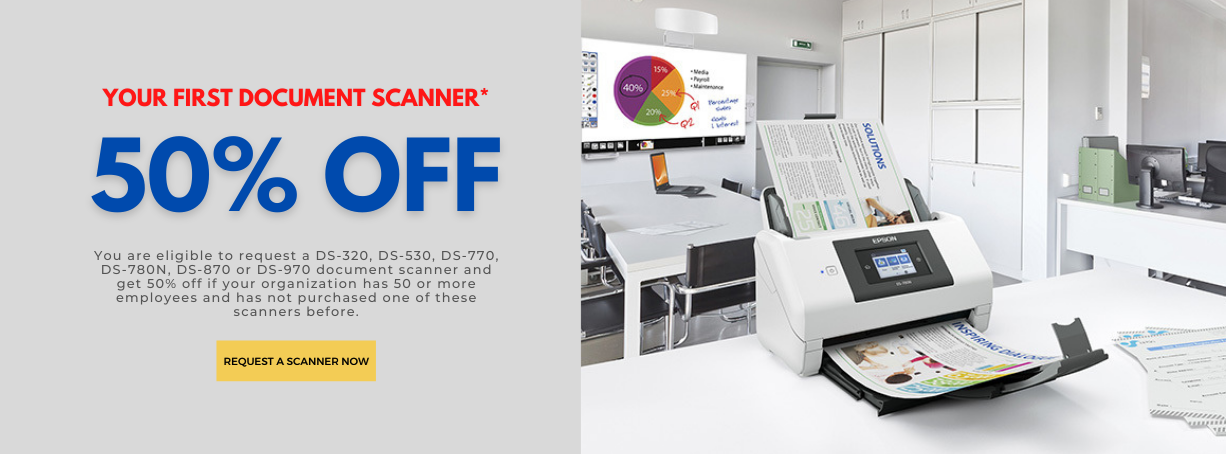 50% Off Your First Epson Scanner Order